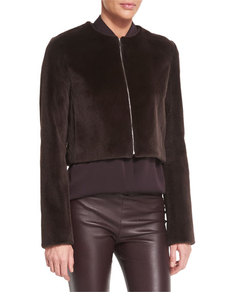 Retza Mink-Fur Cropped Jacket, Dusty Violet