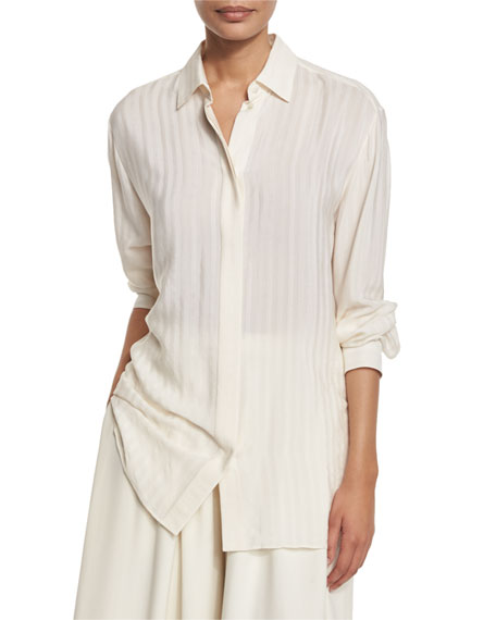 THE ROW Big Sisea Striped Button-Front Blouse, Ivory