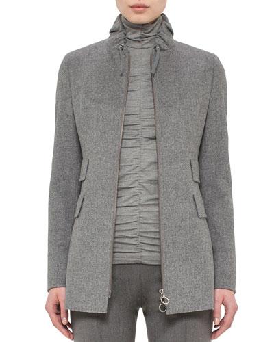 Drawstring-Collar Zip-Front Jacket, Cliff