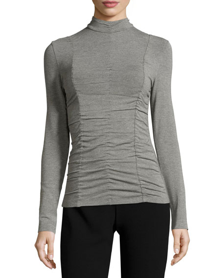 Akris punto Ruched-Front Mock-Neck Top, Cliff