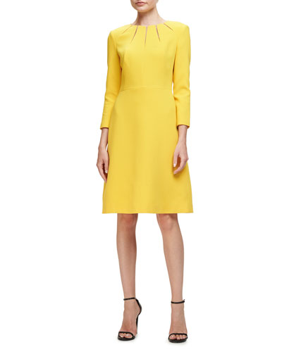 Cutout 3/4-Sleeve A-Line Dress, Yellow