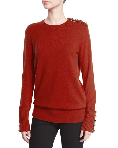 Button-Trim Crewneck Sweater, Parade Red