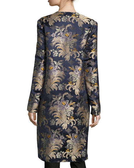 Cora Brocade Long Open Coat, Petrol/Multi