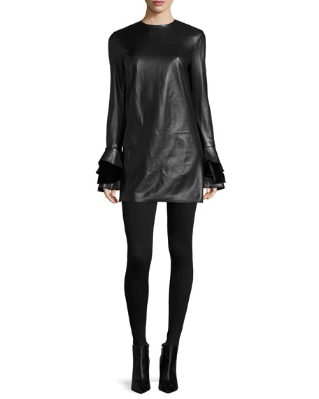 Laverne Bell-Sleeve Leather Dress, Black