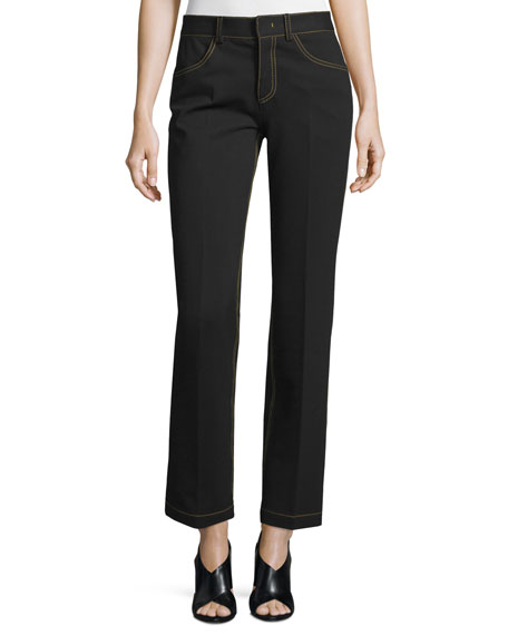 Derek Lam Topstitched Slim-Leg Pants, Black