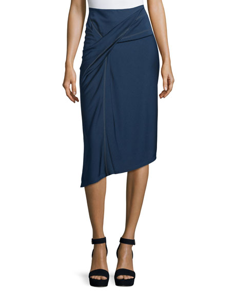 Atlein Side-Knot Draped Skirt, Navy