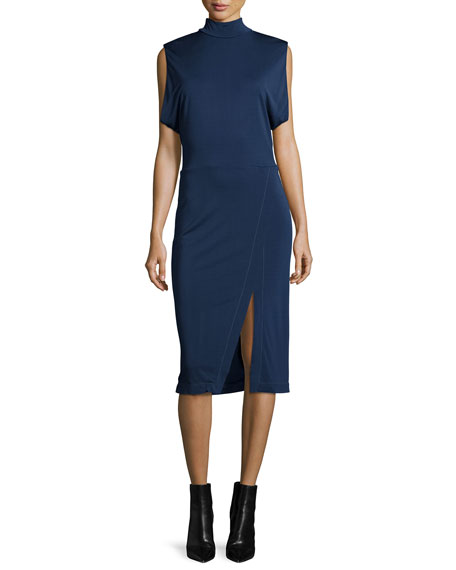 Atlein Sleeveless Draped-Arm Keyhole Dress, Navy