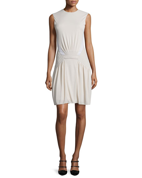 Atlein Sleeveless Stitched-Waist Dress, Cream