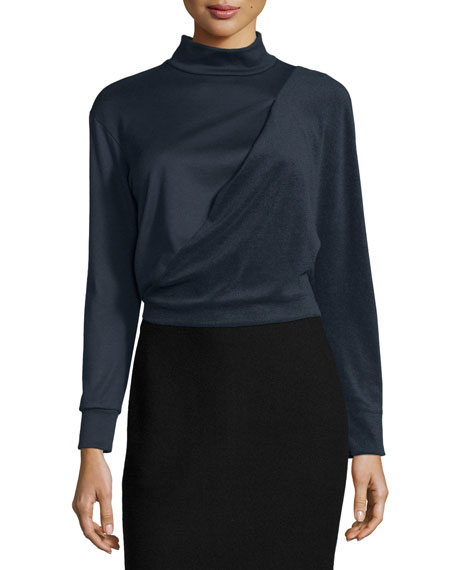 Atlein Long-Sleeve Bias Drape Cropped Top, Navy