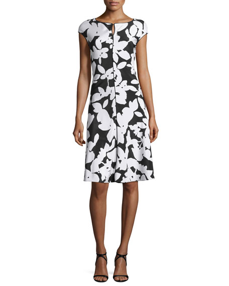 St. John Collection Abstract Floral Cap-Sleeve Dress,