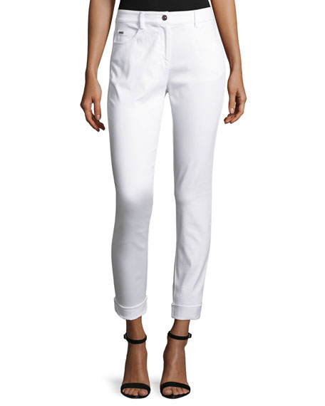 St. John Collection Bardot Slim-Fit Capri Jeans, Bianco