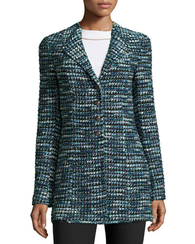 Martinique Tweed Long Jacket, Caviar/Laguna/Multi Buy