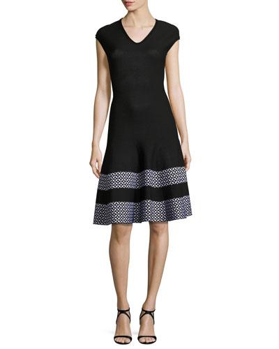 Pinwheel Jacquard Cap-Sleeve Dress, Caviar/Bianco