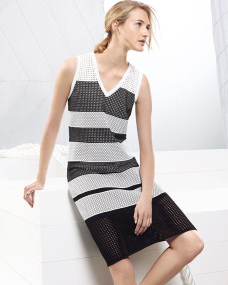 Striped Pointelle V-Neck Dress, Caviar/Bianco
