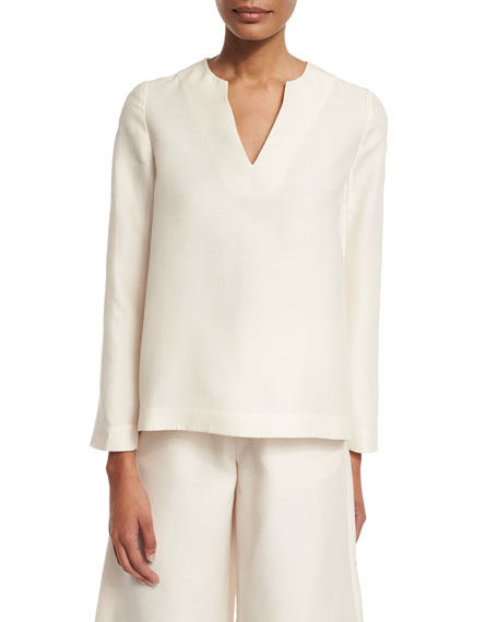 Co Long-Sleeve V-Neck Tunic, Ivory