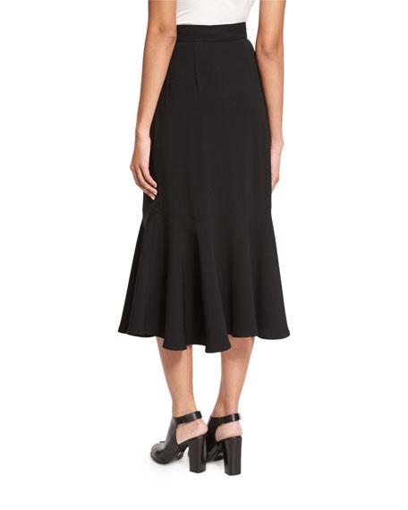 Flounce-Hem Crepe Midi Skirt, Black