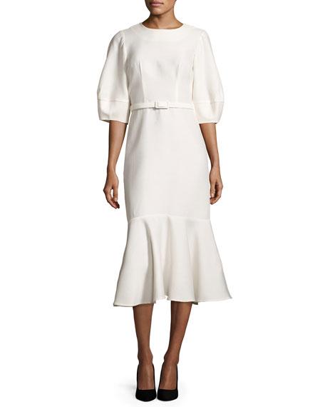 Belted Half-Sleeve Flounce-Hem Dress, Ivory
