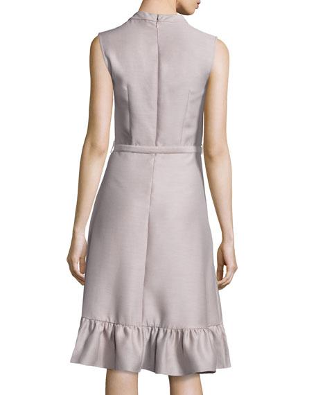 Sleeveless Belted Ruffled-Hem Dress, Mauve