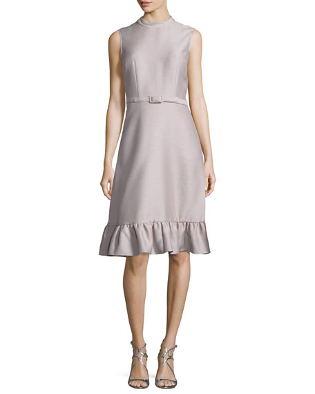 Co Sleeveless Belted Ruffled-Hem Dress, Mauve
