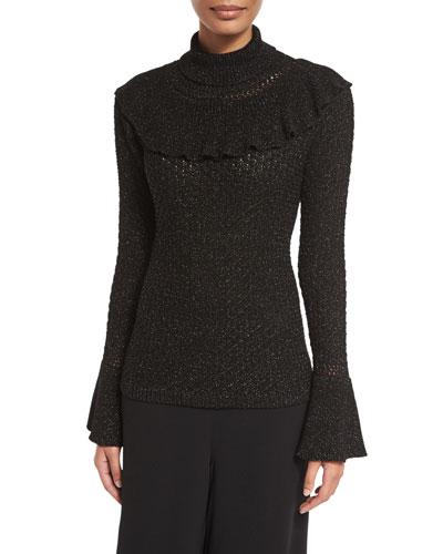 Ruffled-Trim Turtleneck Sweater, Black