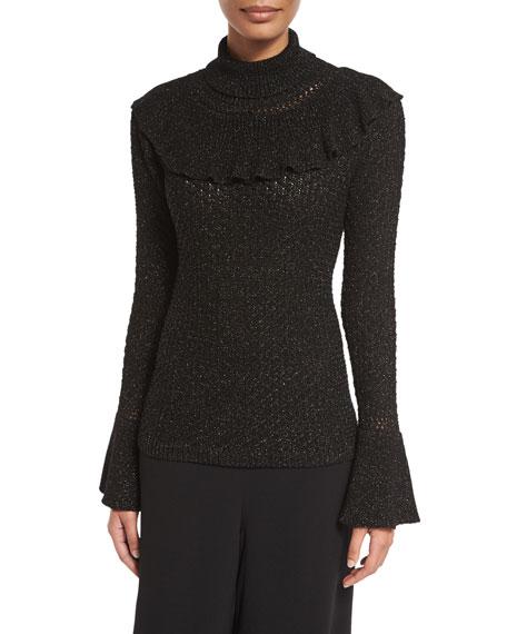 Co Ruffled-Trim Turtleneck Sweater, Black