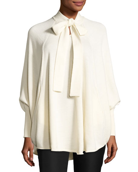 Co Tie-Neck Wool Cape Sweater