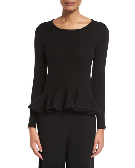 Ruffled-Hem Crewneck Sweater, Black