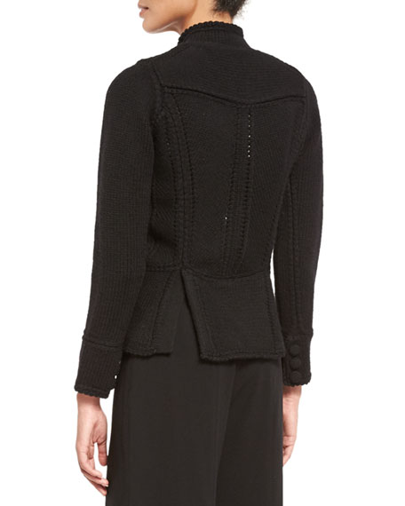Stand-Collar Military Sweater Jacket, Black