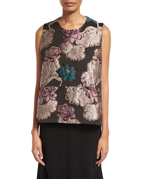 Floral-Brocade Trapeze Sleeveless Blouse, Multi