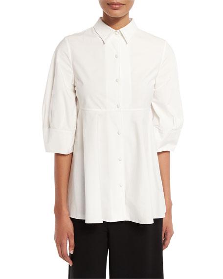 Nip-Waist Half-Sleeve Blouse, White