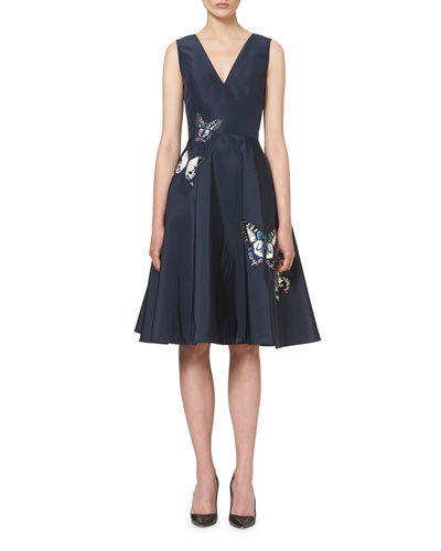 Butterfly-Appliqué Sleeveless Cocktail Dress, Navy