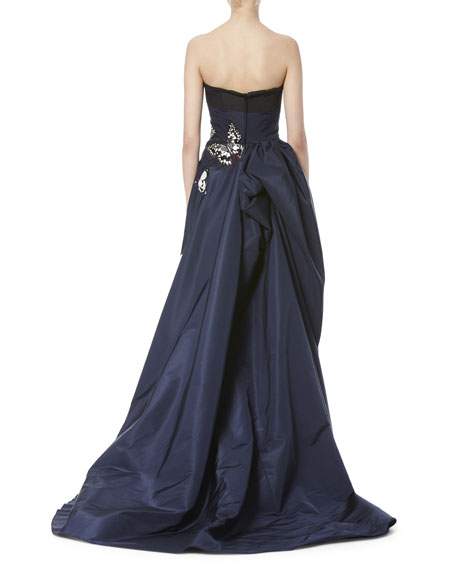 Butterfly-Appliqué Strapless Gown, Navy/Black