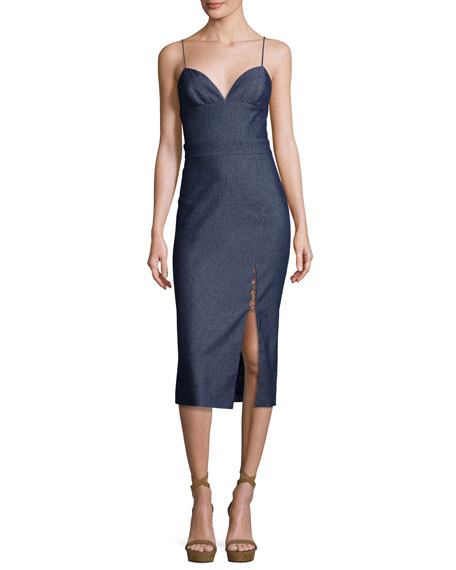 Cushnie Et Ochs Sleeveless Chambray Front-Slit Midi Dress,