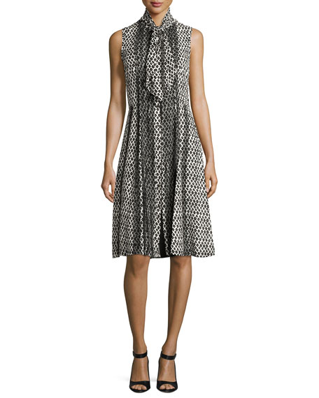 Oscar de la Renta Printed Sleeveless Dress with