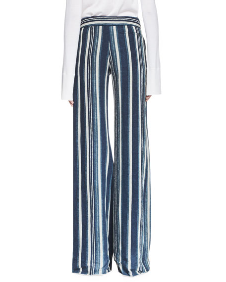 Striped Silk Wide-Leg Trousers, Navy
