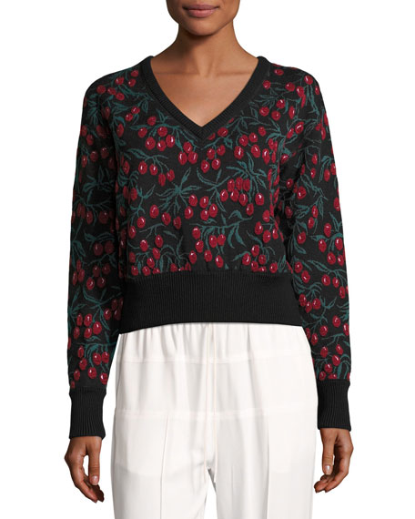 Chloe Cherry-Lace 3/4-Sleeve Sweater, Black