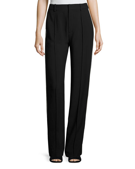 Chloe Wide-Leg Tuxedo-Stripe Pants, Black