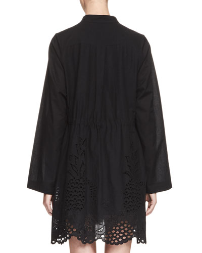 CHLOÉ Cottons PINTUCKED PINEAPPLE EYELET TUNIC, BLACK