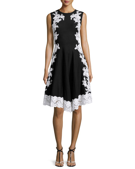 Lace Applique Fit And Flare Dress Blackwhite