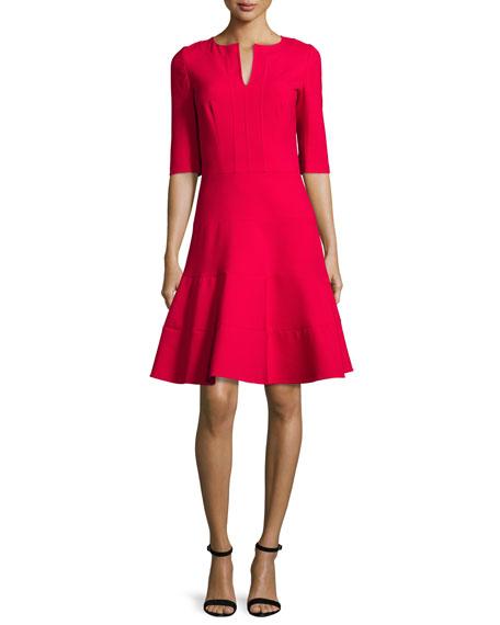 Oscar de la Renta 3/4-Sleeve Split-Neck Dress