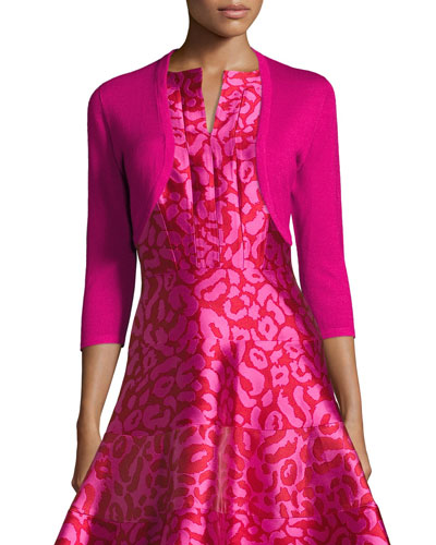 3/4-Sleeve Open-Front Bolero Cardigan, Hot Pink
