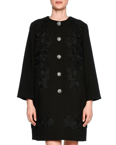 Lace-Trim Wool Coat Topper, Black