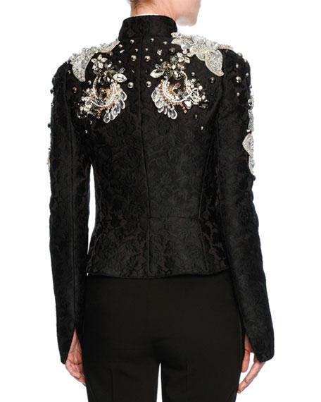 Jeweled Floral Jacquard Cropped Jacket, Black