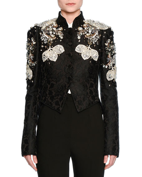 Dolce & Gabbana Jeweled Floral Jacquard Cropped Jacket,