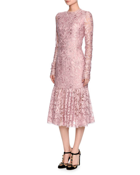 Dolce & Gabbana Long-Sleeve Lace Flounce-Hem Dress, Light