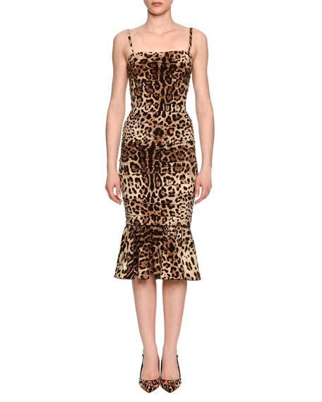 Dolce & Gabbana Ruched Leopard-Print Satin Cocktail Dress