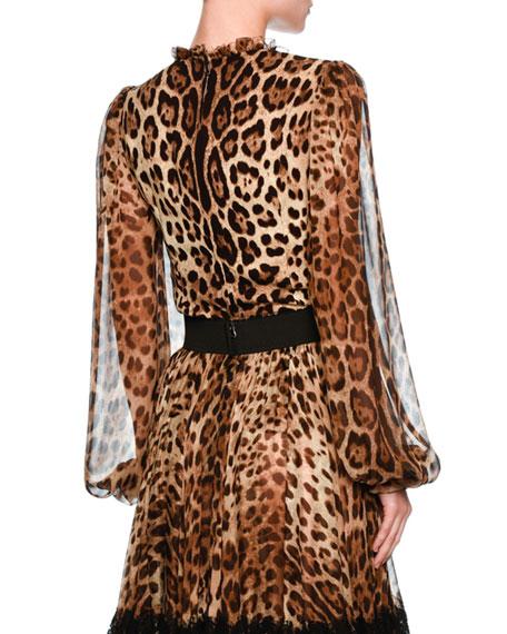 Leopard-Print Sheer-Sleeve Blouse, Brown/Black Leopard