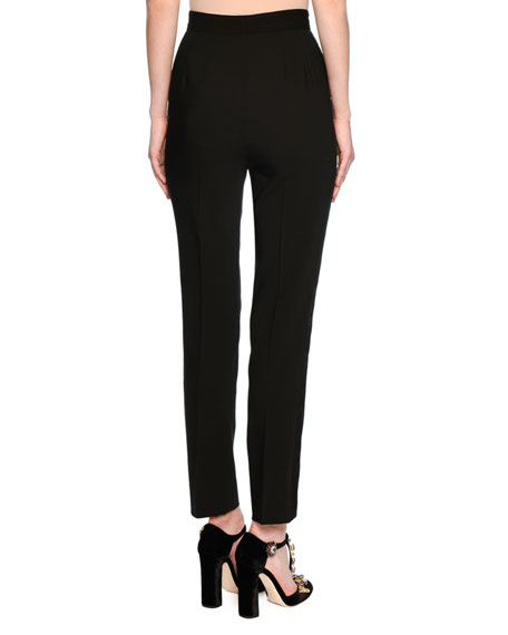 Classic High-Waist Tuxedo Pants, Black