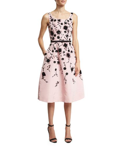 Oscar de la Renta Sleeveless Floral Fit-&-Flare Midi