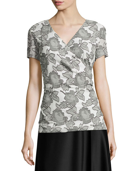 St. John Collection Metallic Blossom Faux-Wrap Blouse,